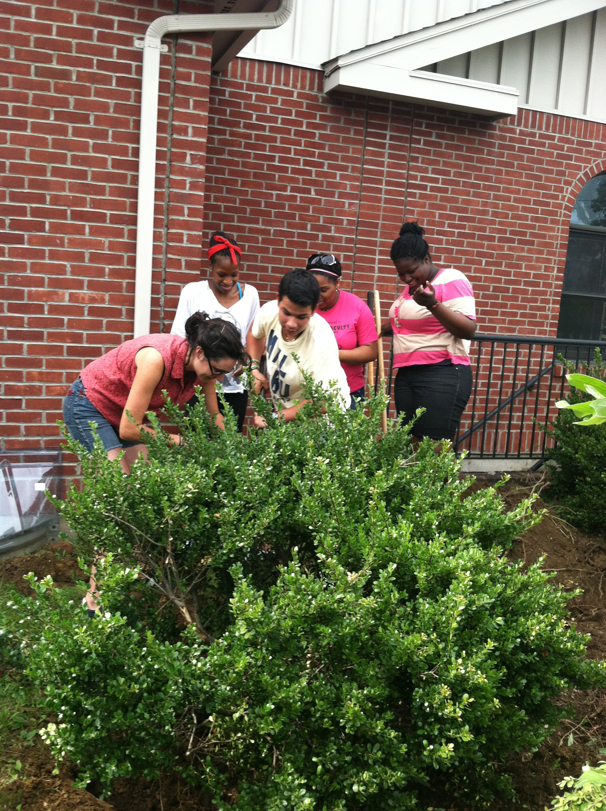 """The Dig Kids"" putting in Apple Trees at the Everette Hodge Center in 2013."